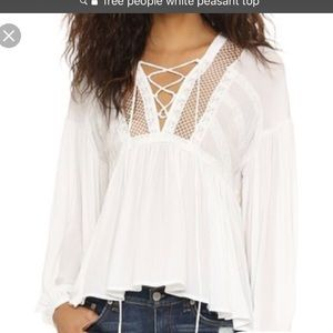 Free People White Peasant Top XS
